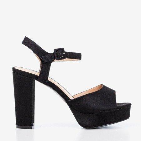 Czarne sandały na wyższym słupku Silenae - Obuwie