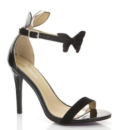 Czarne sandały z kokardą - Obuwie