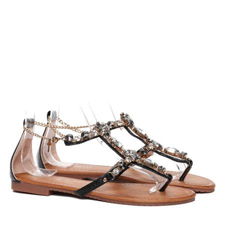 Czarne sandały z ozdobnymi kamyczkami Jazlyn- Obuwie