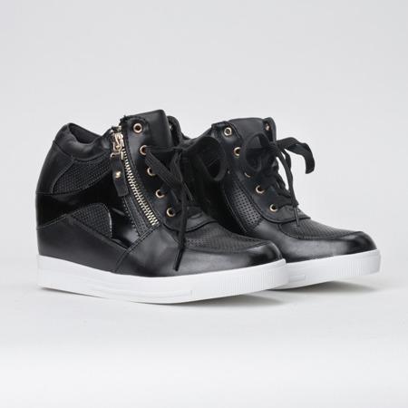 Czarne sneakersy na koturnie Ester- Obuwie