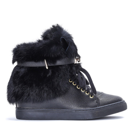 Czarne sneakersy na krytym koturnie Aleena -  Obuwie