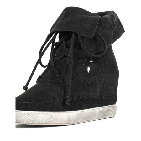 Czarne sneakersy na krytym koturnie Cinta - Obuwie