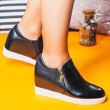 Czarne sneakersy na krytym koturnie Evita - Obuwie