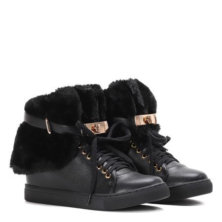 Czarne sneakersy z futerkiem na krytym koturnie LU BOO- Obuwie
