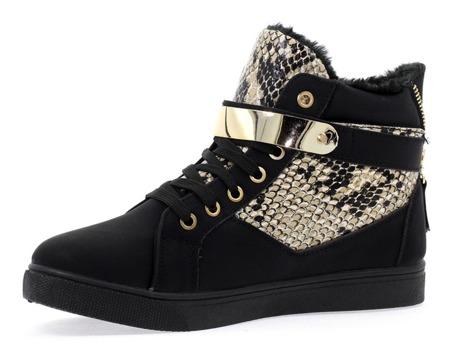 Czarne sneakersy ze złotą ozdobą - Obuwie