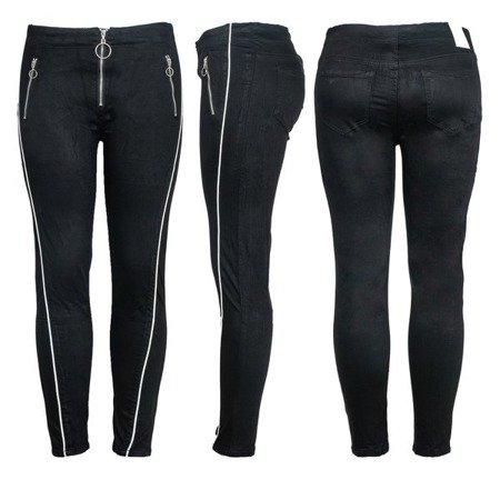 Czarne spodnie z białą lamówką - Spodnie