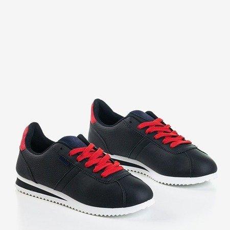 Czarne sportowe buty damskie z czerwonymi wstawkami Dramena - Obuwie