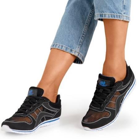Czarne sportowe buty damskie z granatowymi wstawkami Kannasi - Obuwie