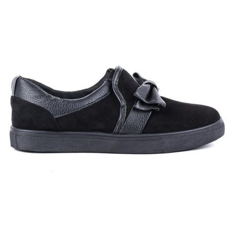 Czarne, sportowe buty z kokardą Kristen - Obuwie