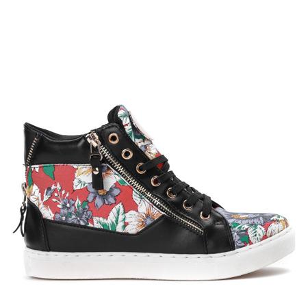 Czarne sportowe sneakersy z kwiatkami Jennie - Obuwie