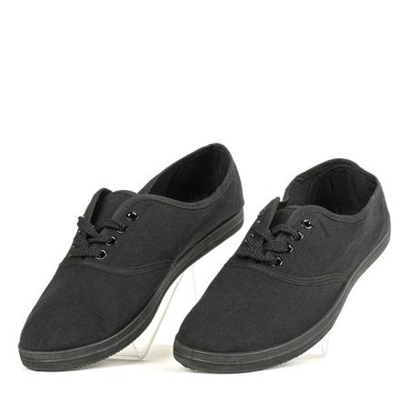 Czarne sznurowane tenisówki Kompe - Obuwie