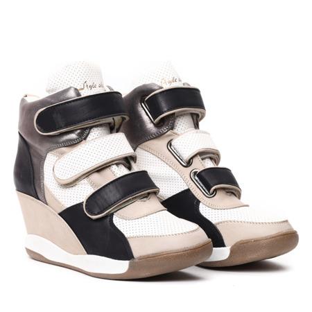 Czarno-beżowe sneakersy na koturnie - Obuwie
