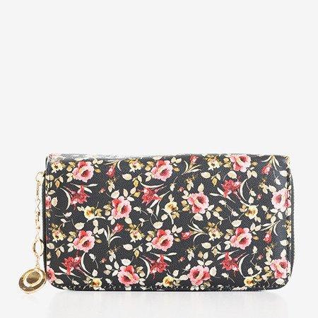 Czarno-czerwony damski portfel w kwiaty - Portfel