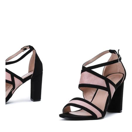 Czarno-różowe sandały na słupku Violetta - Obuwie