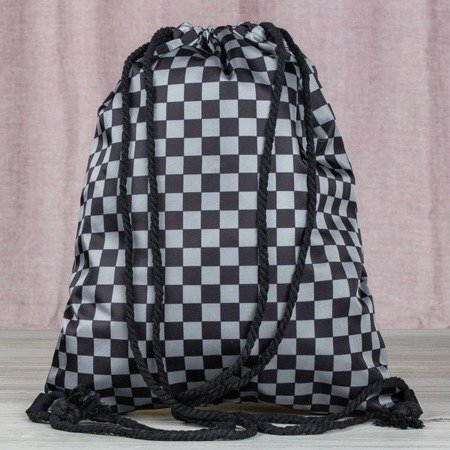 Czarno-szary plecak typu worek w kratkę - Plecaki