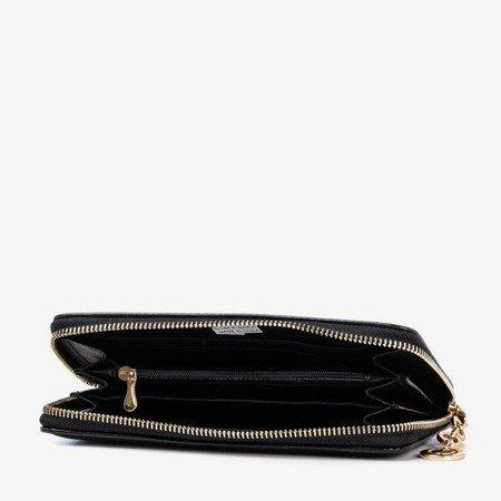Czarny portfel damski z błyszczącym wykończeniem - Portfel