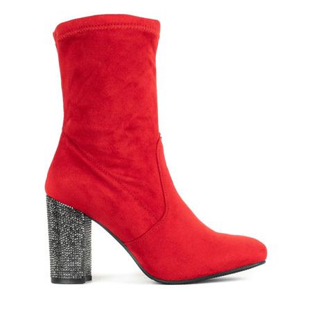 Czerwone botki na zdobionym słupku Crystalline - Obuwie