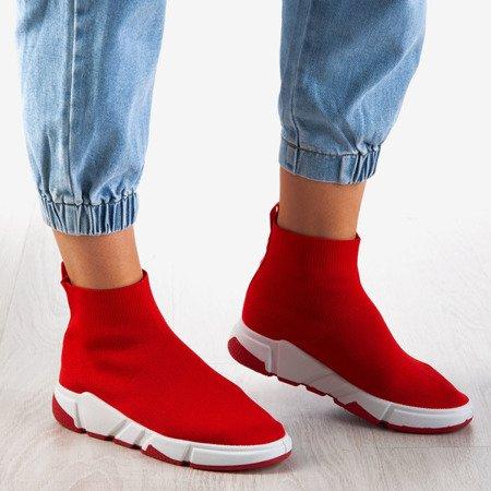 Czerwone buty sportowe damskie z cholewką a'la skarpetka Nyla - Obuwie