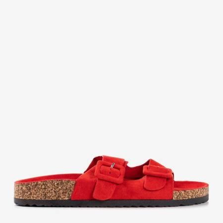 Czerwone damskie klapki z klamrami Recasa - Obuwie
