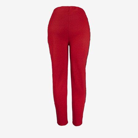 Czerwone damskie spodnie dresowe z lampasami - Spodnie