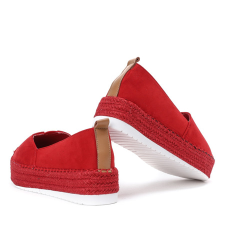 Czerwone espadryle na wyższej podeszwie Karson - Obuwie