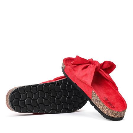 Czerwone klapki z kokardką Summer Blow - Obuwie