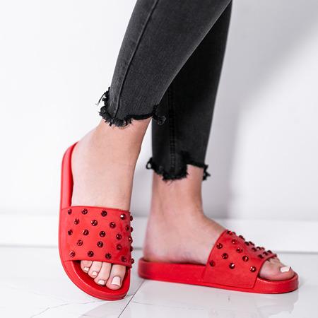 Czerwone klapki z kryształkami Retana - Obuwie