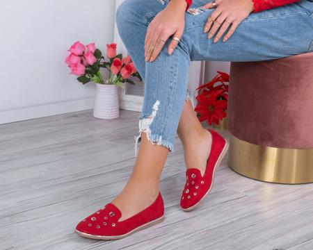 Czerwone mokasyny z przelotkami Dana- Obuwie