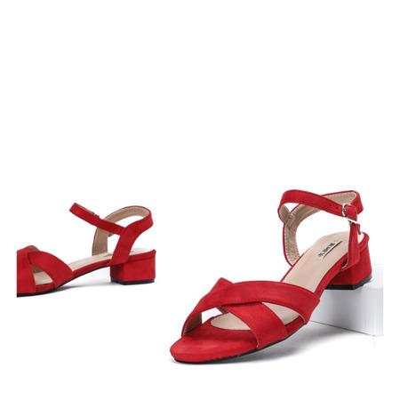 Czerwone sandały na niskim słupku Sana - Obuwie