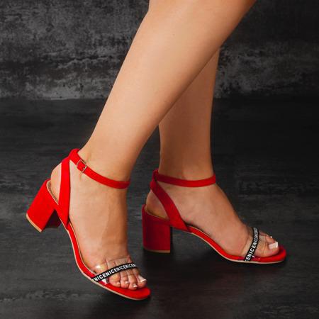 Czerwone sandały na słupku z przezroczystą wstawką Angelita - Obuwie