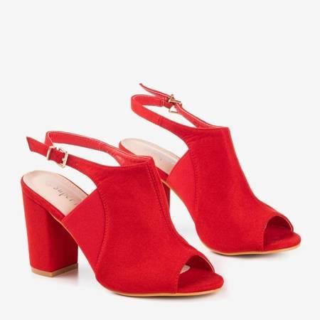 Czerwone sandały z cholewką na wysokim słupku Bartom - Obuwie