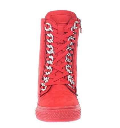 Czerwone sneakersy na krytym koturnie Savanetha - Obuwie