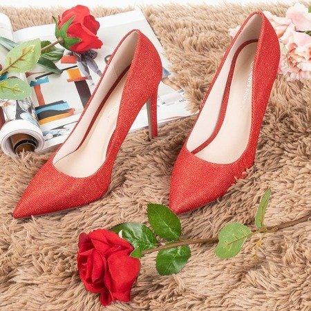 Czerwone szpilki damskie z brokatem Nissa - Obuwie