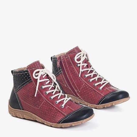 Czerwono-bordowe sportowe buty damskie Iria - Obuwie