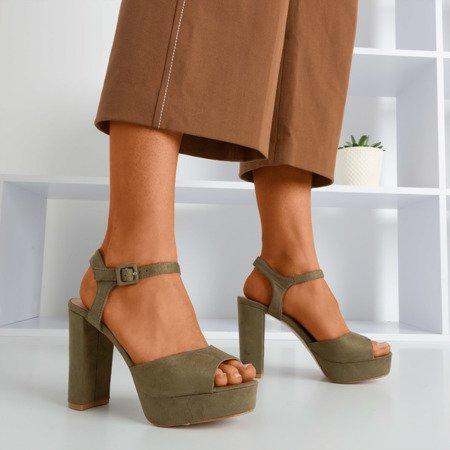 Damskie sandały w kolorze khaki na wyższym słupku Silenae - Obuwie
