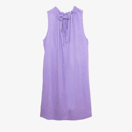 Fioletowa damska sukienka z falbaną - Odzież
