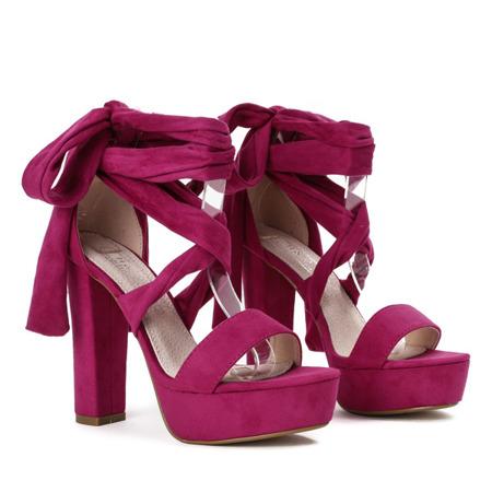 Fuksjowe sandały wiązane na wysokim słupku Molier - Obuwie