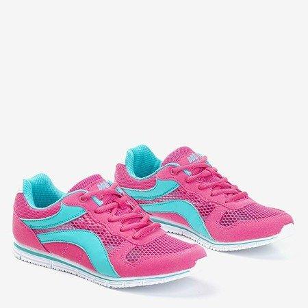 Fuksjowe sportowe buty damskie z niebieskimi wstawkami Kannasi - Obuwie