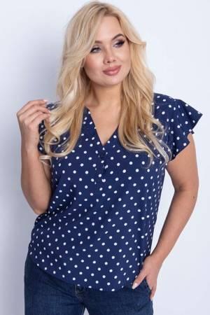 Granatowa bluzka damska w groszki PLUS SIZE - Odzież