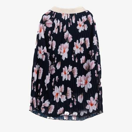 Granatowa plisowana spódnica midi z nadrukiem w kwiaty - Odzież