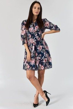 Granatowa sukienka z nadrukiem w kwiaty - Odzież