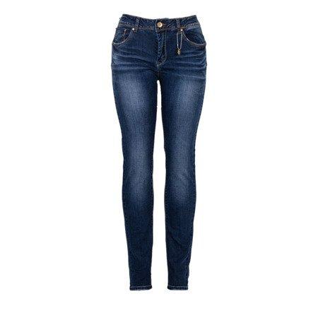 Granatowe damskie jeansy - Spodnie