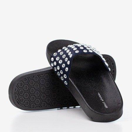 Granatowe damskie klapki ze srebrnymi diamencikami Diamenta - Obuwie