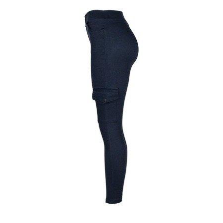 Granatowe damskie spodnie materiałowe tregginsy - Spodnie