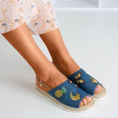 Granatowe jeansowe sandały na niskiej koturnie Arica - Obuwie