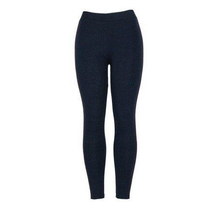 Granatowe legginsy z lampasami - Spodnie