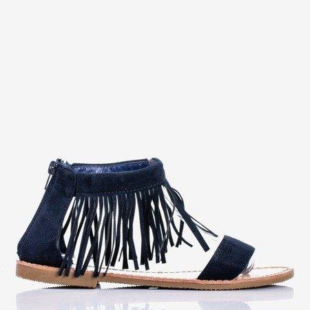Granatowe sandały płaskie Sashali - Obuwie