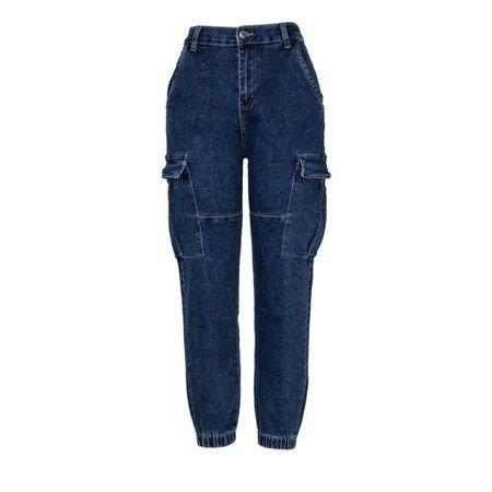 Granatowe spodnie cargo z jeansu - Spodnie