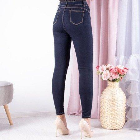 Granatowe spodnie z złotą nitką - Spodnie