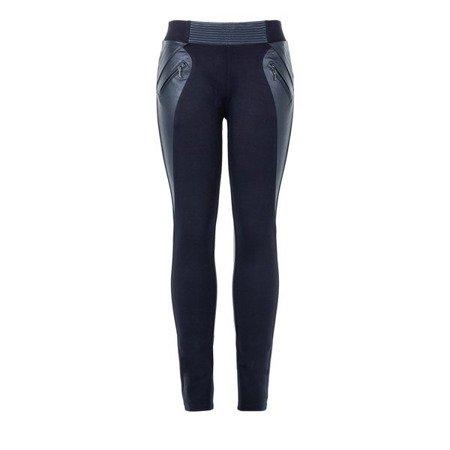 Granatowe tregginsy z kieszeniami - Spodnie